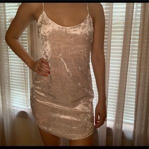 Pink Velvet Spaghetti Strap Dress